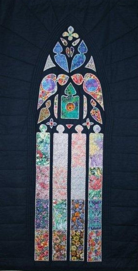 The Tapestry was made by a staff member of the hospital, fashioned on a window of a Cathedral she visited in England.  She donated it to the Chapel